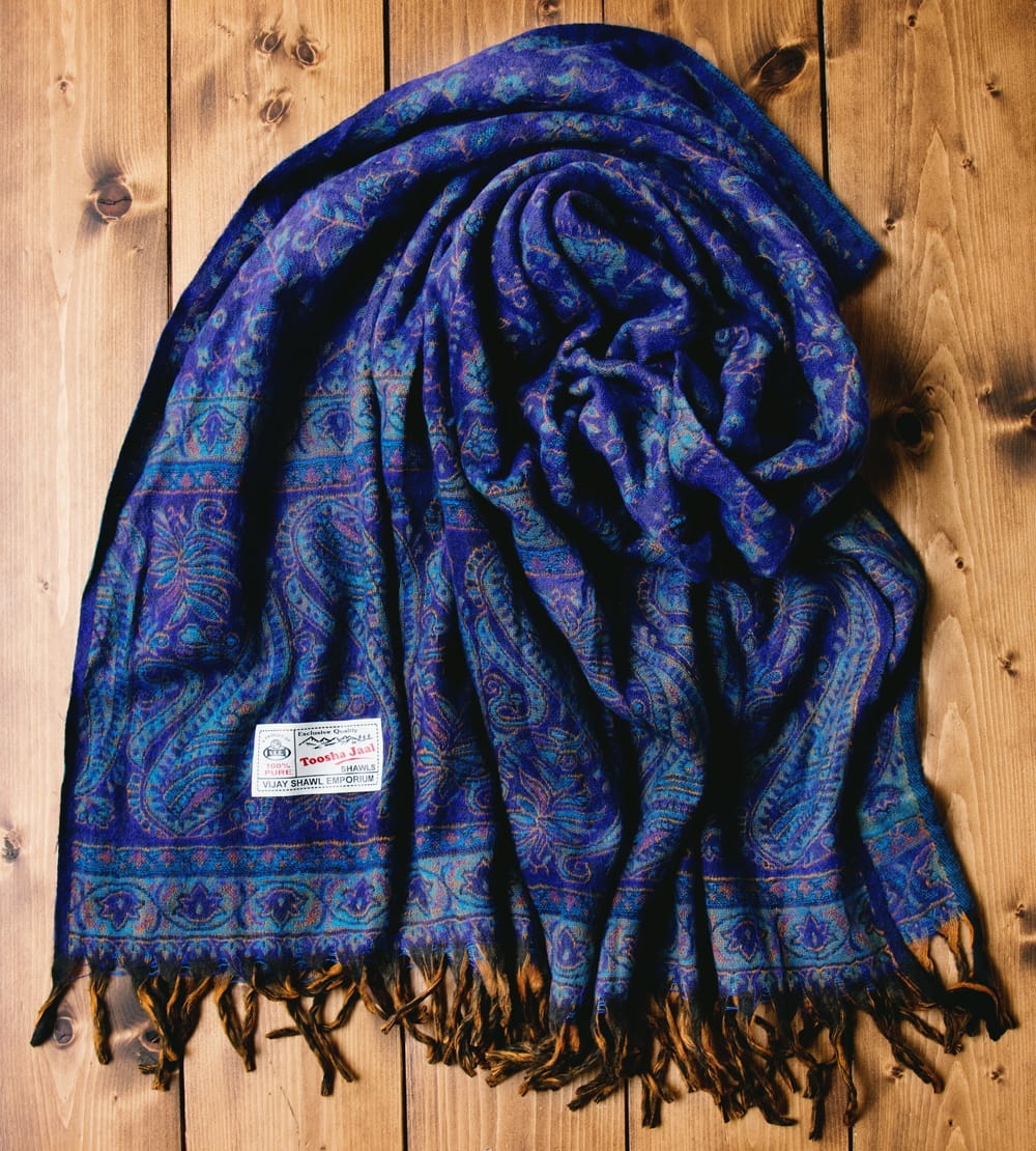 〔210cm×95cm〕インドの伝統柄大判ストール・ショール - 青紫系 3 - 色合いも落ち着きがあり、女性から男性までオススメです。