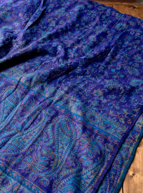 〔210cm×95cm〕インドの伝統柄大判ストール・ショール - 青紫系 4 - 柄の拡大写真です