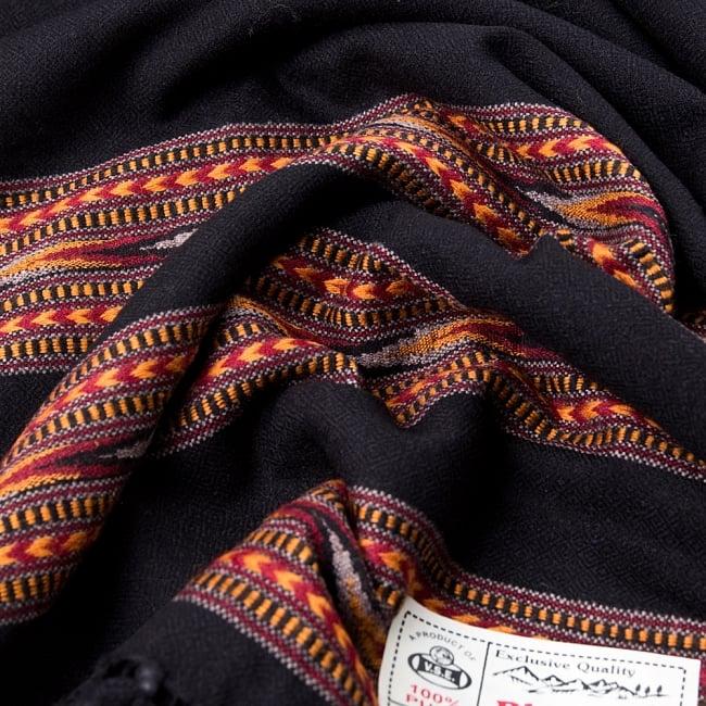 〔224cm×96cm〕ヒマラヤ山麓のクル地方伝統の大判ショール - ブラック 3 - 色合いも落ち着きがあり、女性から男性までオススメです。