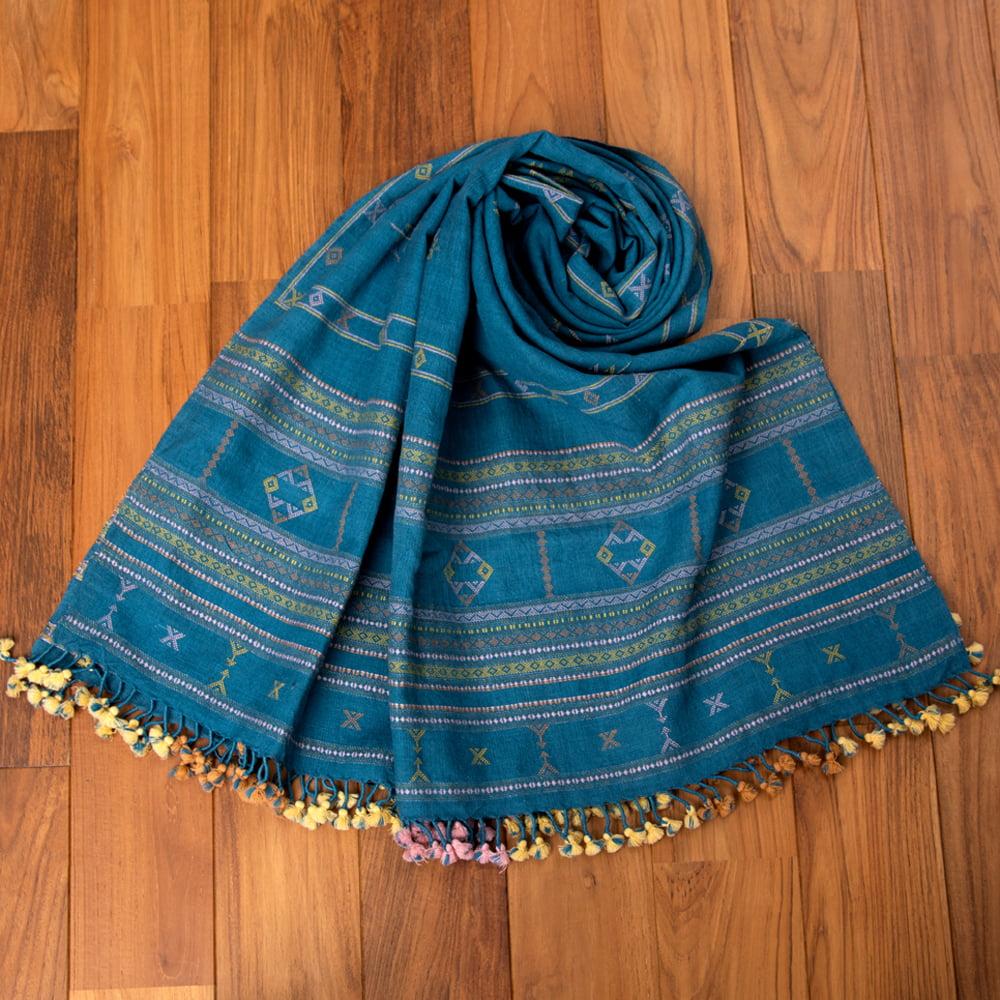 【1点もの】ブジョーディ村の手織りショール 9 - くるっとまいてみました。