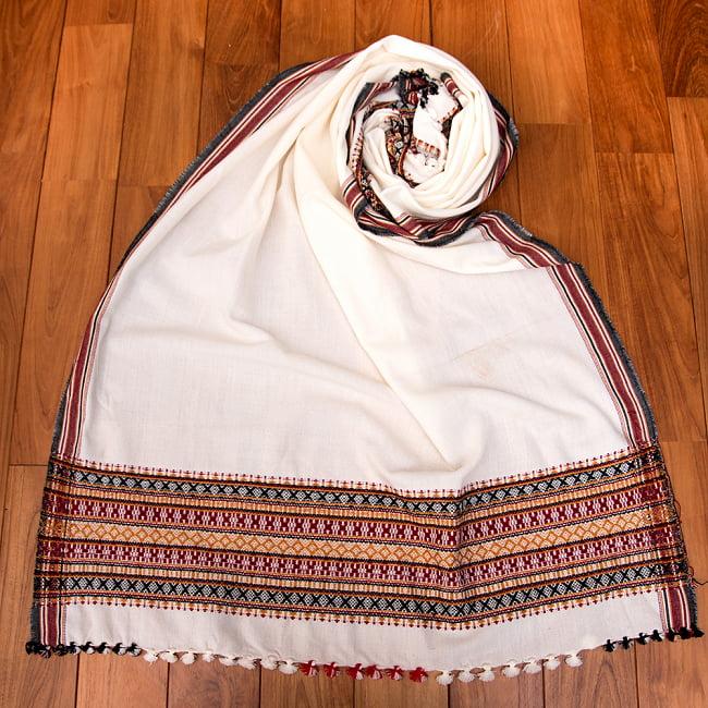 【196cm×90cm】アンジャール村からやってきた インド伝統柄ショール ストール 11 - 4:ホワイト×ボーダー