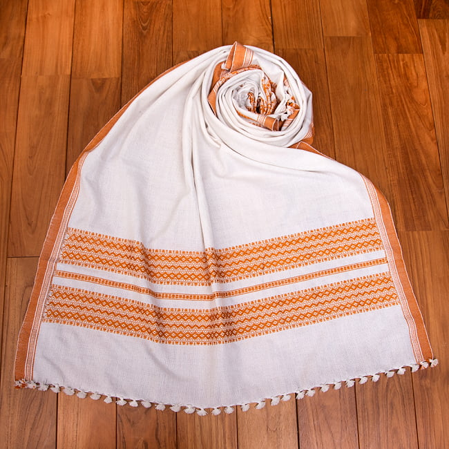 【196cm×90cm】アンジャール村からやってきた インド伝統柄ショール ストール 12 - 5:ホワイト×イエロー