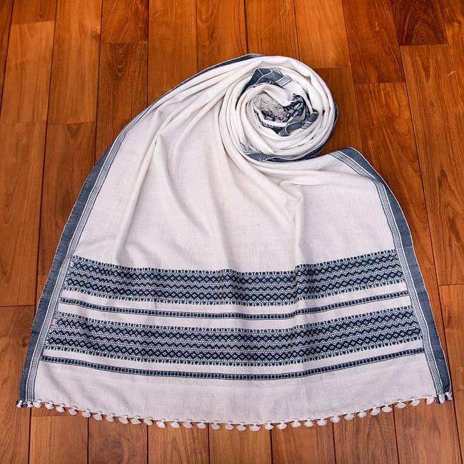 【196cm×90cm】アンジャール村からやってきた インド伝統柄ショール ストール 13 - 6:ホワイト×グレー