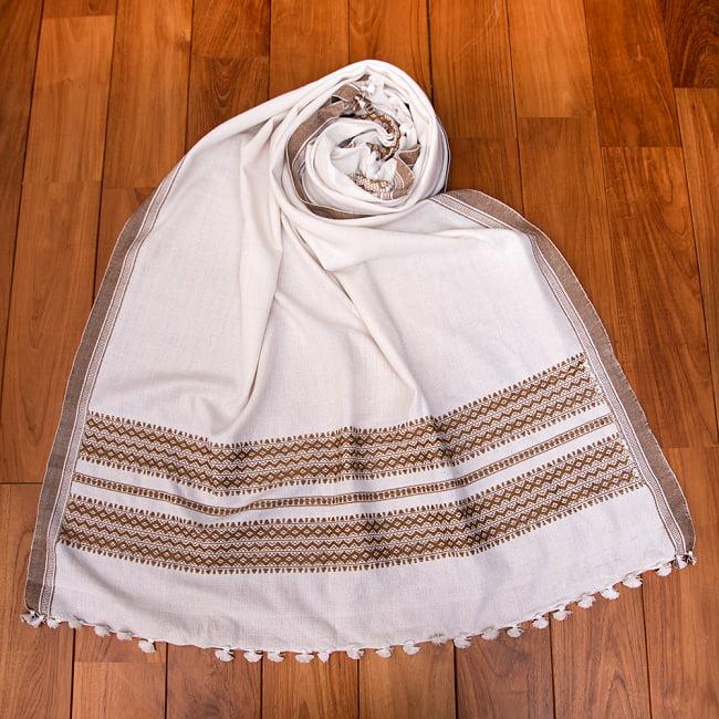【196cm×90cm】アンジャール村からやってきた インド伝統柄ショール ストール 14 - 7:ホワイト×ベージュ