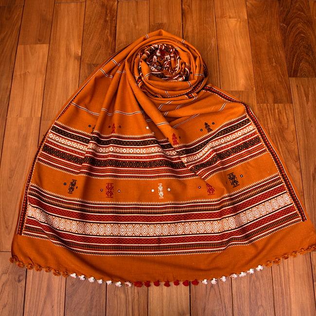 【196cm×90cm】アンジャール村からやってきた インド伝統柄ショール ストール 15 - 8:キャメル