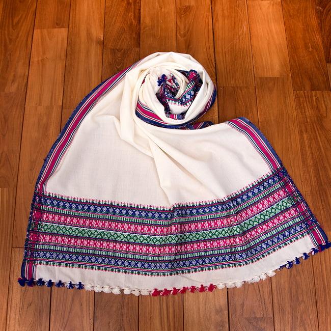 【196cm×90cm】アンジャール村からやってきた インド伝統柄ショール ストール 16 - 9:ホワイト×パープル