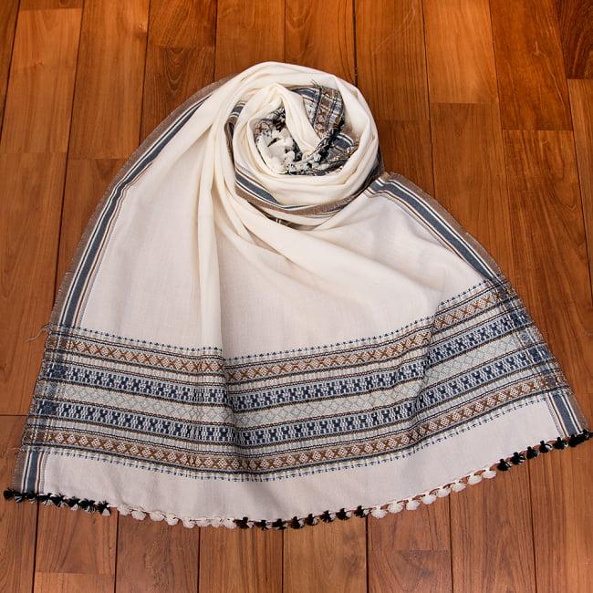 【196cm×90cm】アンジャール村からやってきた インド伝統柄ショール ストール 17 - 10:ホワイトグレー