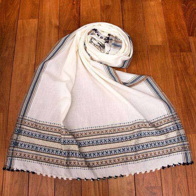 【196cm×90cm】アンジャール村からやってきた インド伝統柄ショール ストール 18 - 11:ホワイトベージュ