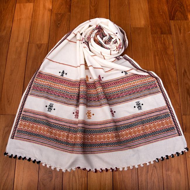 【196cm×90cm】アンジャール村からやってきた インド伝統柄ショール ストール 19 - 12:ホワイトイエロー