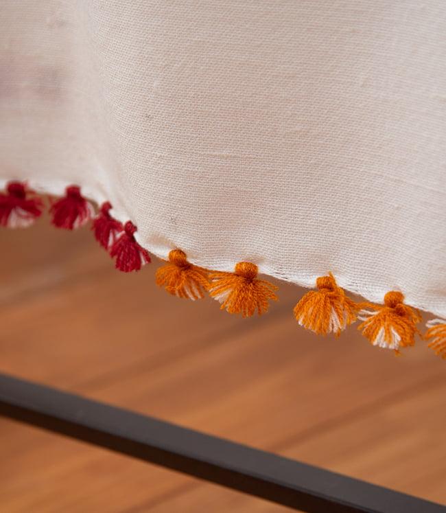 【196cm×90cm】アンジャール村からやってきた インド伝統柄ショール ストール 3 - 裾はかわいいフリンジ仕立てとなっています。