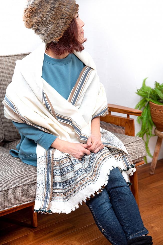 【196cm×90cm】アンジャール村からやってきた インド伝統柄ショール ストール 6 - 肩からショールとしてお使いいただくとこのくらいのサイズ感です。