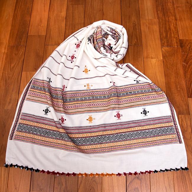 【196cm×90cm】アンジャール村からやってきた インド伝統柄ショール ストール 8 - 1:ホワイト×ブラック