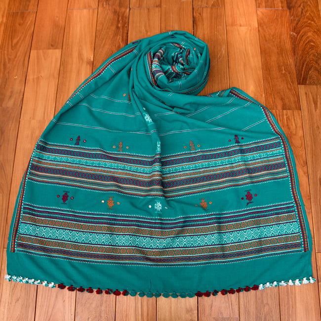 【196cm×90cm】アンジャール村からやってきた インド伝統柄ショール ストール 9 - 2:エメラルド