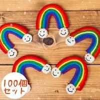 【100個セット】虹と雲のスマイルブローチ