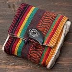 ヘンプとネパールゲリの手作りポーチ - ラスタ系