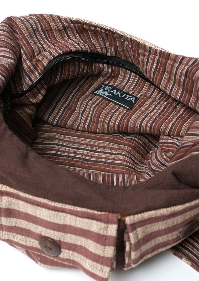 ワイドショルダーバック 茶 5 - 内側にもきれいな色の布が使われていて、素敵な仕上がりです。