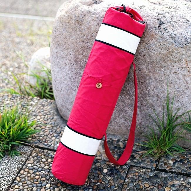 シンプルコットン ヨガマットバッグ【赤】 2 - コットンで親しみやすいです