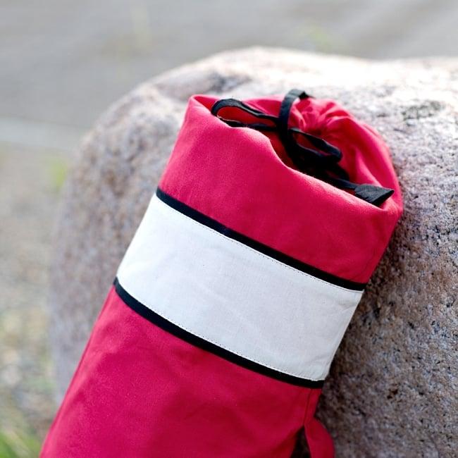 シンプルコットン ヨガマットバッグ【赤】 4 - 上部の写真です