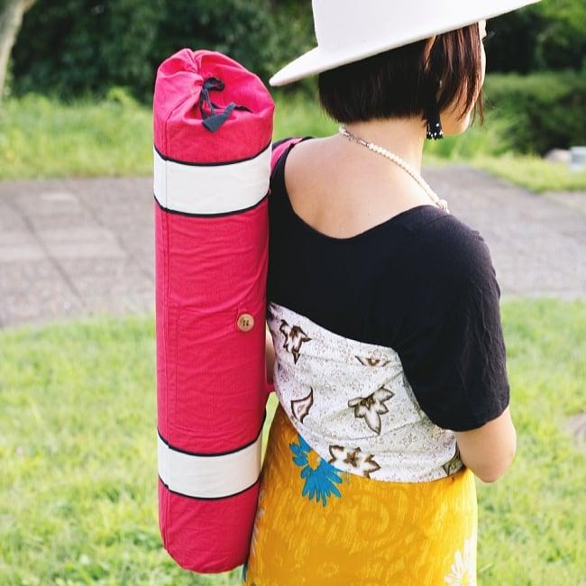 シンプルコットン ヨガマットバッグ【赤】の写真