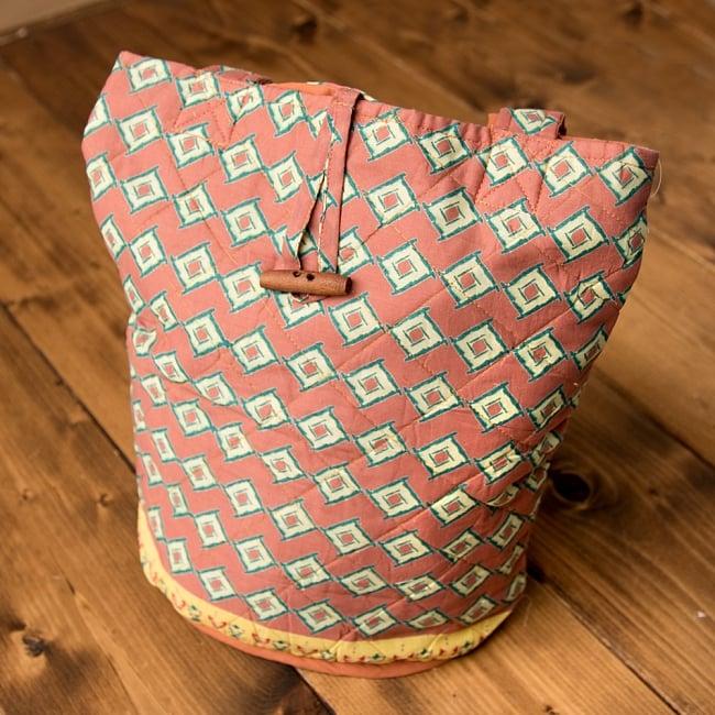 インド綿のトートバッグ 【ピンク】 2 - 正面から撮影しました