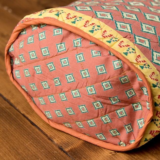 インド綿のトートバッグ 【ピンク】 6 - 嬉しいマチ付きです♪