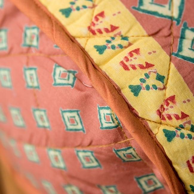 インド綿のトートバッグ 【ピンク】 7 - 底部分をアップにしてみました。