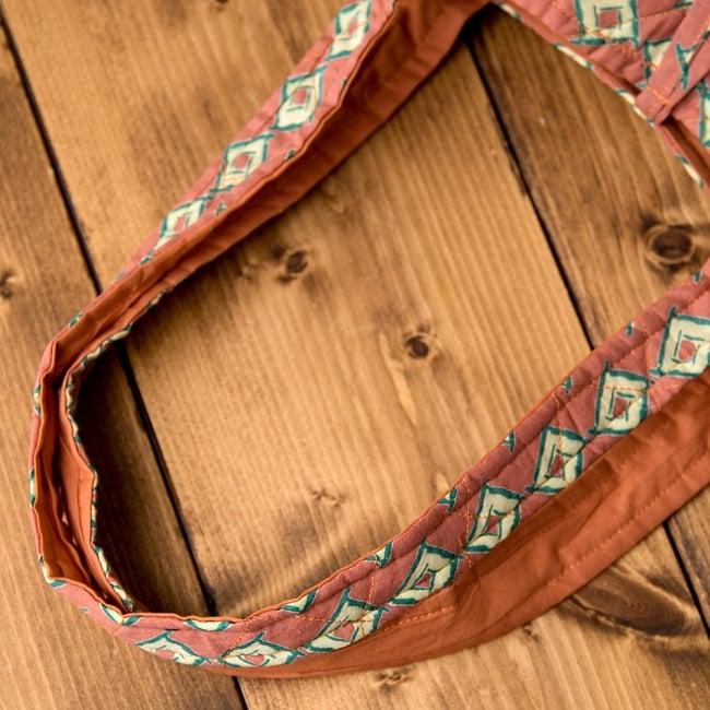 インド綿のトートバッグ 【ピンク】 8 - 持ち手部分もキルティング素材で可愛いです^^