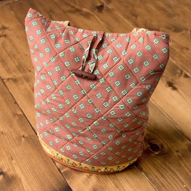 インド綿のトートバッグ 【ピンク・小柄】 2 - 正面から撮影しました