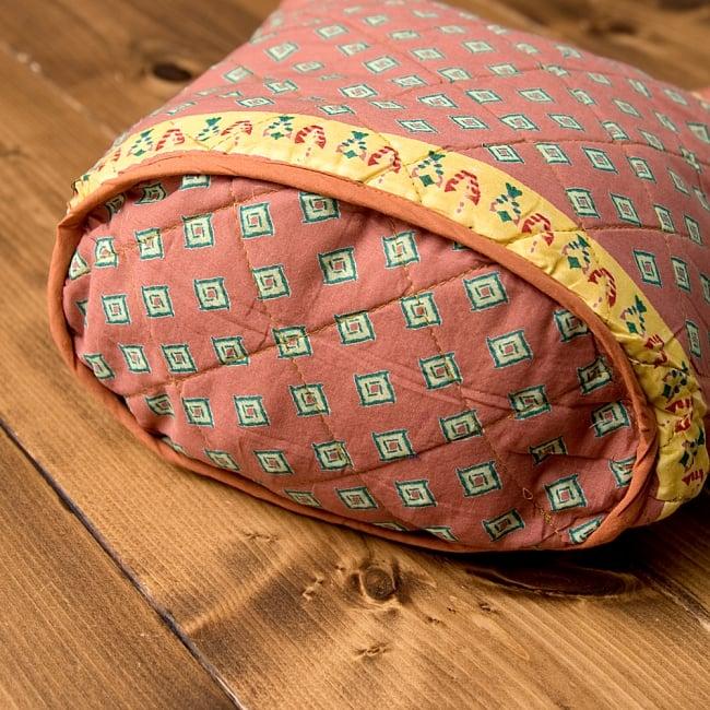 インド綿のトートバッグ 【ピンク・小柄】の写真6 - 嬉しいマチ付きです♪
