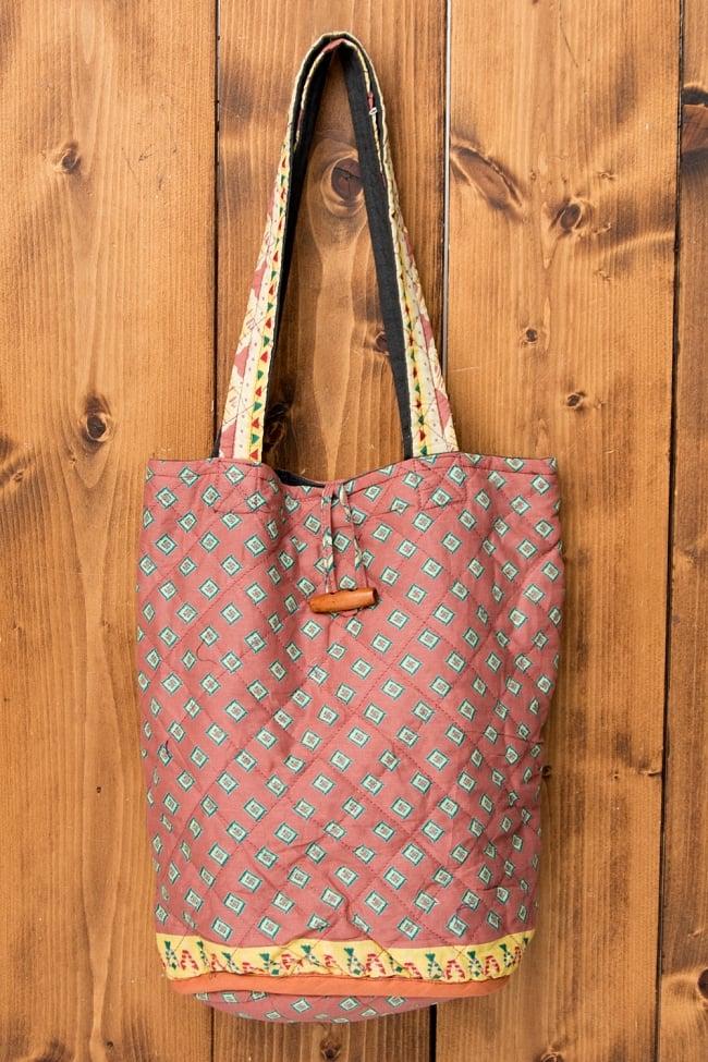 インド綿のトートバッグ 【ピンク・小柄】の写真
