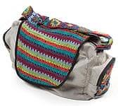 カラフルコットン刺繍の大きなバッグ - ライトグレー