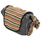 カラフルコットン刺繍の大きなバッグ - ダークグレー