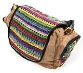 カラフルコットン刺繍の大きなバッグ - ベージュ