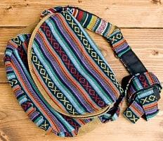 【収納たっぷり!】エスノ刺繍のショルダーバッグ - オレンジxブルー系