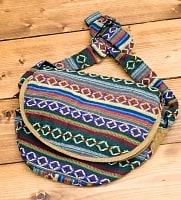 【収納たっぷり!】エスノ刺繍のショルダーバッグ - 緑色系