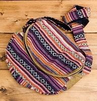 【収納たっぷり!】エスノ刺繍のショルダーバッグ - ピンクxパープル