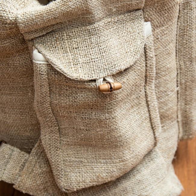 ヘンプ素材の大きなバックパック - ナチュラル 7 - 両サイドにポケットがあります。