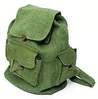 ヘンプ素材の大きなバックパック - グリーン