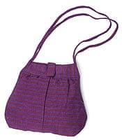 ボーダーライン シェル型ショルダーバッグ - 紫