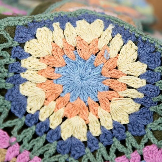 お花刺繍のショルダーバッグ【山型】グリーン 4 - サイドはこの様になっています