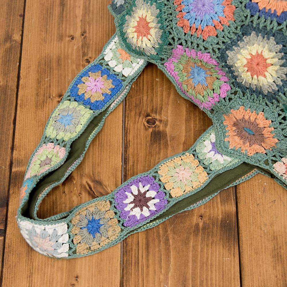 お花刺繍のショルダーバッグ【山型】グリーン 7 - 持ち手もとっても素敵です!