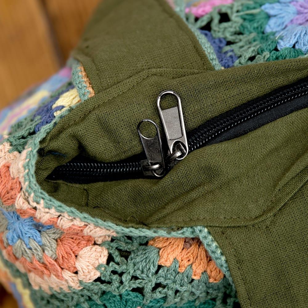 お花刺繍のショルダーバッグ【山型】グリーン 8 - ダブルジップで安心!便利!なのが嬉しいですね^^