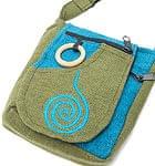4ポケットトライバル刺繍ポシェット - カーキ×水色