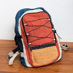 ワイルドヘンプのカラフルバックパック - 赤×紺ライン