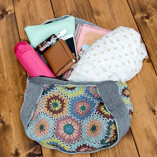 お花刺繍のショルダーバッグ【山型・小】グリーン 10 - 水筒や簡単な羽織もの等たっぷり入ります^^※こちらは色違い商品です