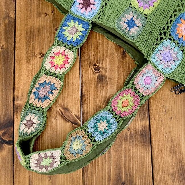 お花刺繍のショルダーバッグ【山型・小】グリーン 7 - 持ち手もとっても素敵です!