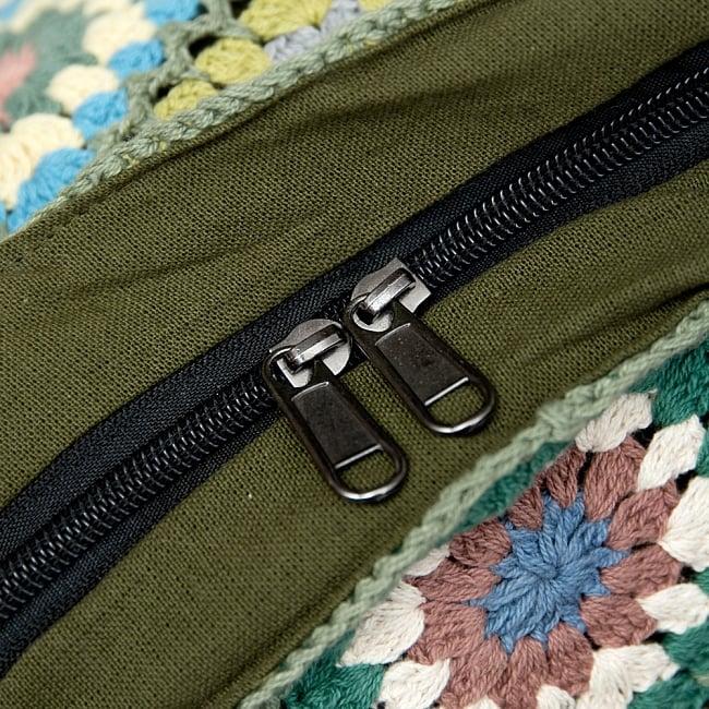 お花刺繍のショルダーバッグ【山型・小】グリーン 8 - ダブルジップで安心!便利!なのが嬉しいですね^^