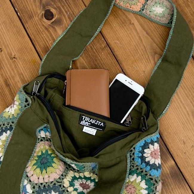 お花刺繍のショルダーバッグ【山型・小】グリーン 9 - 携帯やキーケースがすっぽり入る大きめの内ポケット付き!