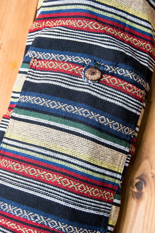 [ジッパータイプ]ネパール織り布のヨガマットバッグ 3 - 表面には小さなポケットがついています。