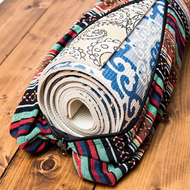 [ジッパータイプ]ネパール織り布のヨガマットバッグ 6 - 以前よりワイドサイズになりましたので、当店で販売している4mmのヨガマットを2枚重ねて入れることができます。